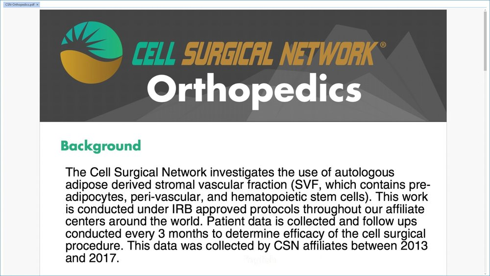 The following results are a compilation of clinics under the cell surgical network, of which we are a proud partner and affiliate.