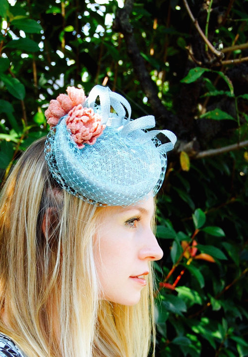 Tweed Water Lilies pale blue and pink vintage style percher cocktail hat c903995658d
