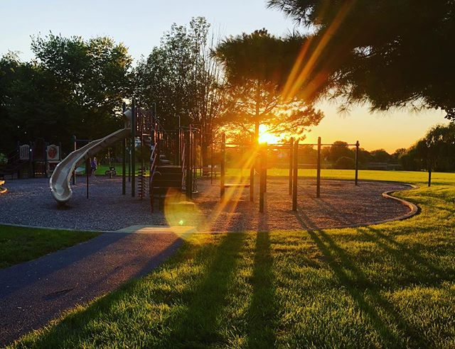 When the playground looks like this when you're leaving for the day, you know fall is approaching.  #lovethatlight #attheplayground #playground #sunset #lovemybabies #twinsplusone #falliscoming #longshadows #goldenhour #photography #canonphotography #stephanielovaephotography #chicagolandphotographer