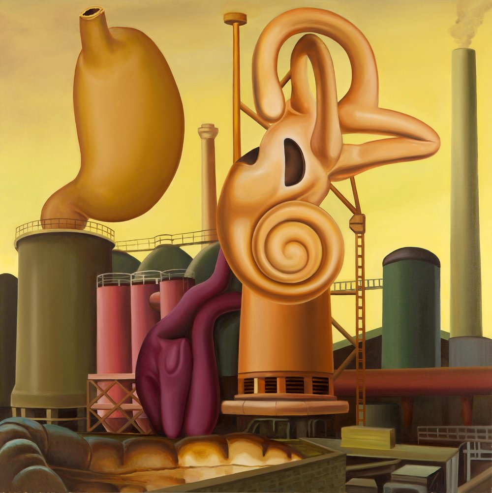 Sound Detection Factory , 2014. Oil on canvas, 160 x 160 cm.