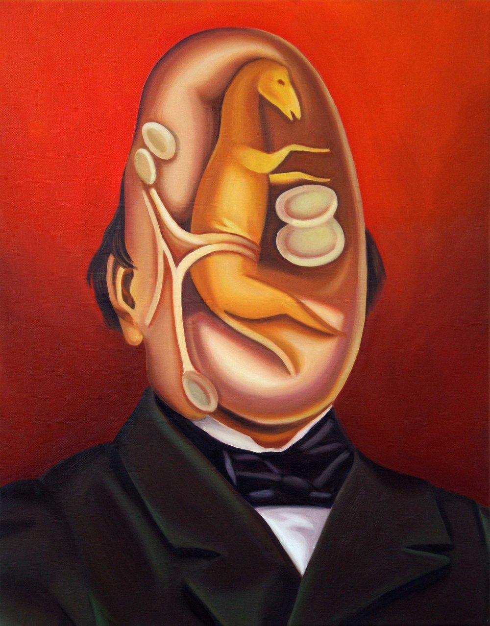 Horse Foetus Man , 2014. Oil on canvas, 70 x 55 cm.