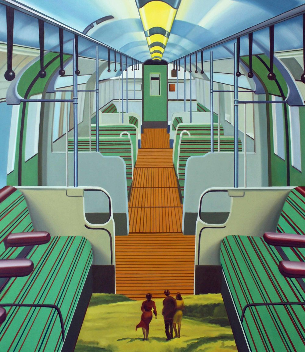 Strangers on a Train , 2014. Oil on canvas, 150 x 130 cm.