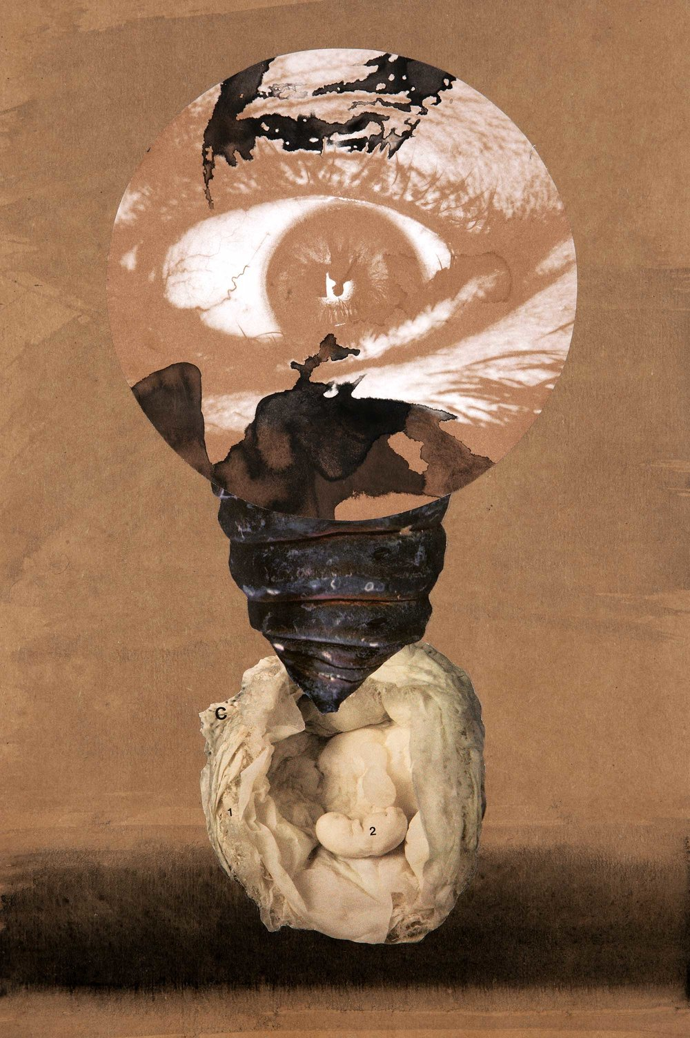 The Umbilical Eye , 2012.  Collage and indian ink on paper, 42,5 x 28,6 cm.
