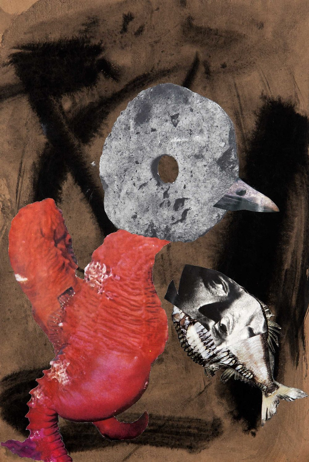 Big Fish, Bigger Bird , 2012.Collage and ink on paper, 42,5 x 28,6 cm.