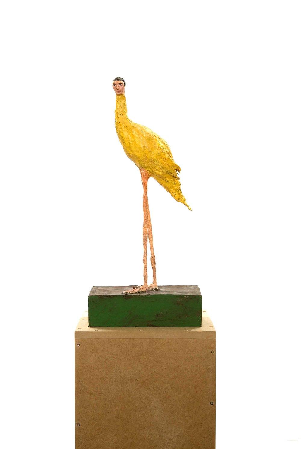 Birdman , 2010.Paper, glue, wire, wood, gouache, 55 x 11 x 25 cm.