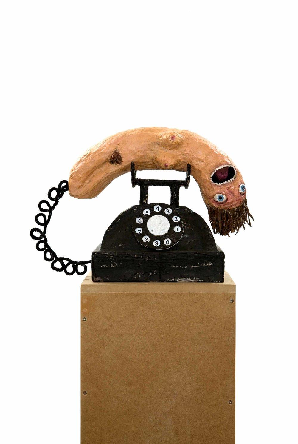 Telephone , 2010.Paper, glue, wire, cardboard, gouache, 33 x 18 x 36 cm.