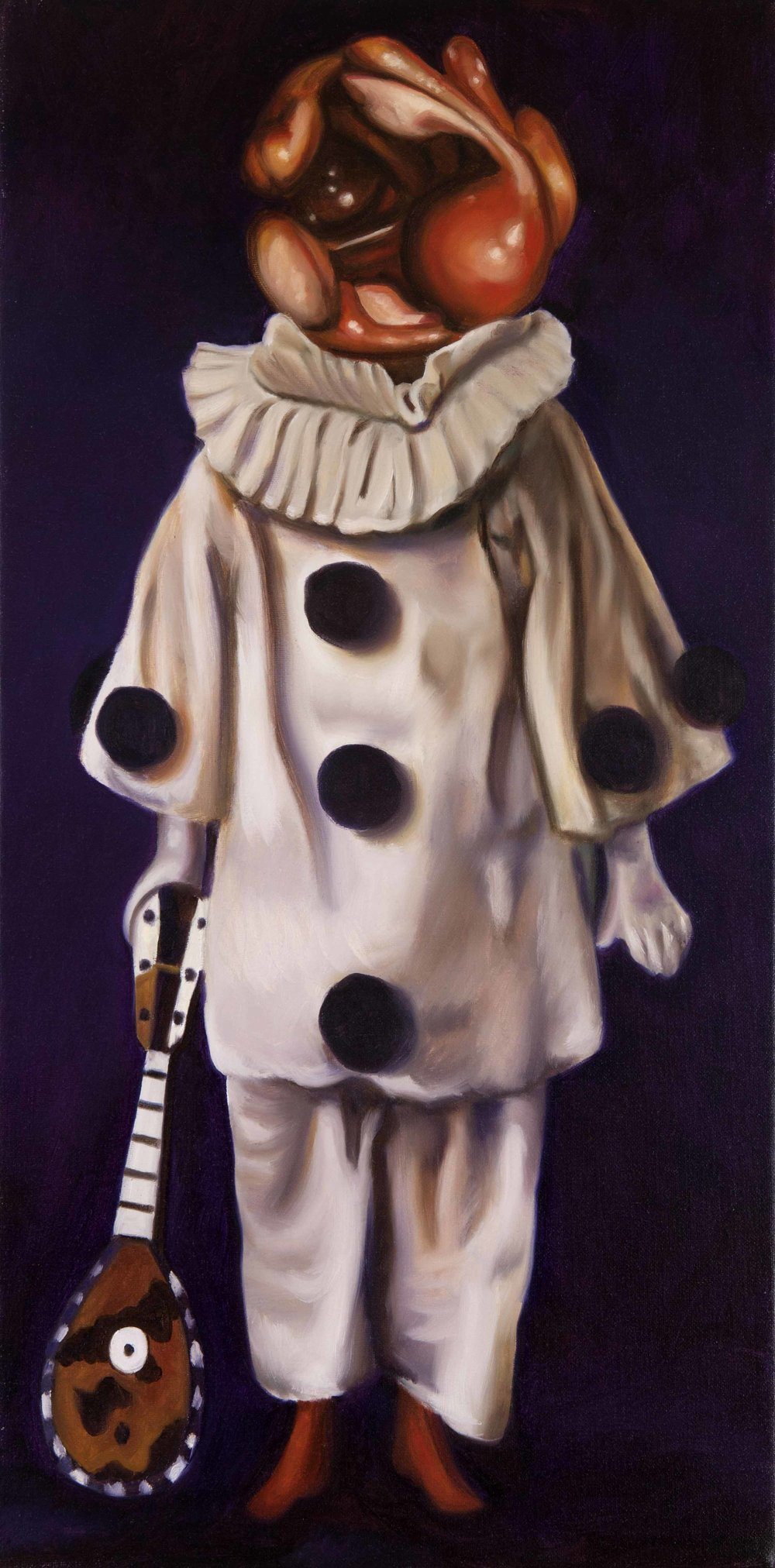 Pierrot , 2016. Oil on canvas, 90 x 45 cm.