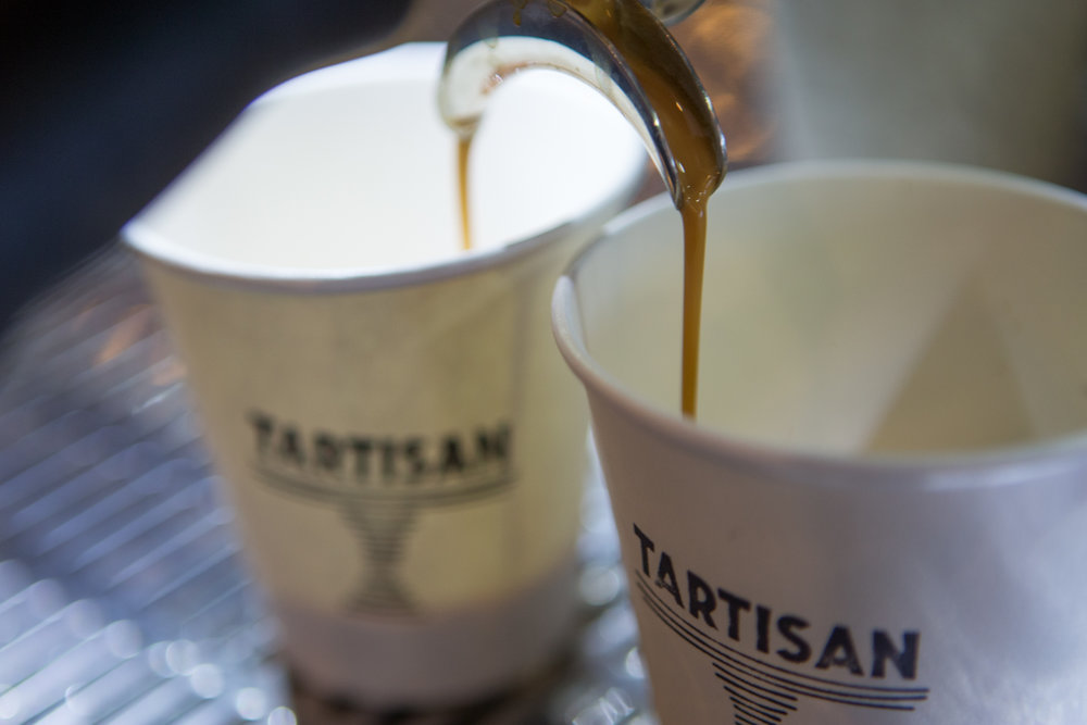 Seven Seeds Golden Gate blend coffee in Tartisan Planetware cups, La Marzocco machine