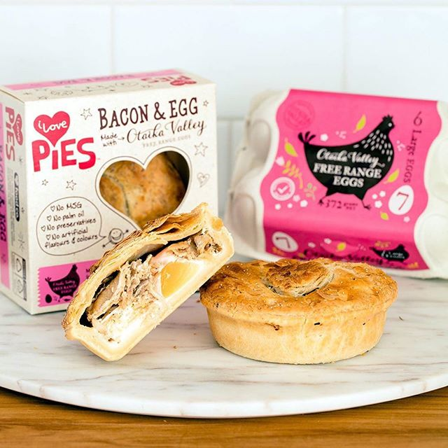 Our mates over at @ilovefoodco know what's good! We are eggcited about these limited edition beauties made with our premium free range eggs, the bacon is pretty special too which is free farmed and nitrate free. . . . #ilovepies #nzpies #otaikavalleyeggs  #nzfreerange #freerange #dinnersorted