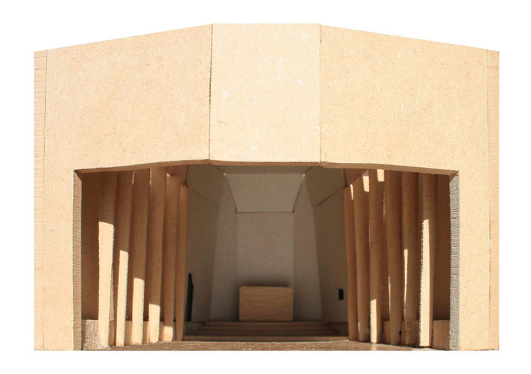 INTERIOR MODEL OF CHRISTIAN COMMUNITY CHAPEL, TEMPLE LODGE, LONDON DESIGNED BY NICOLAS POPLE