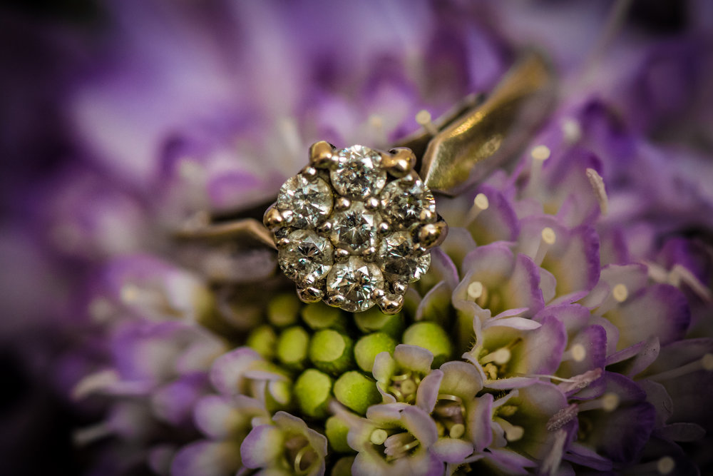 Wedding ring on bouquet