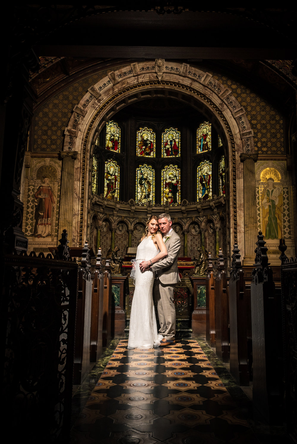 Bride and Groom at Crewe Hall Chapel