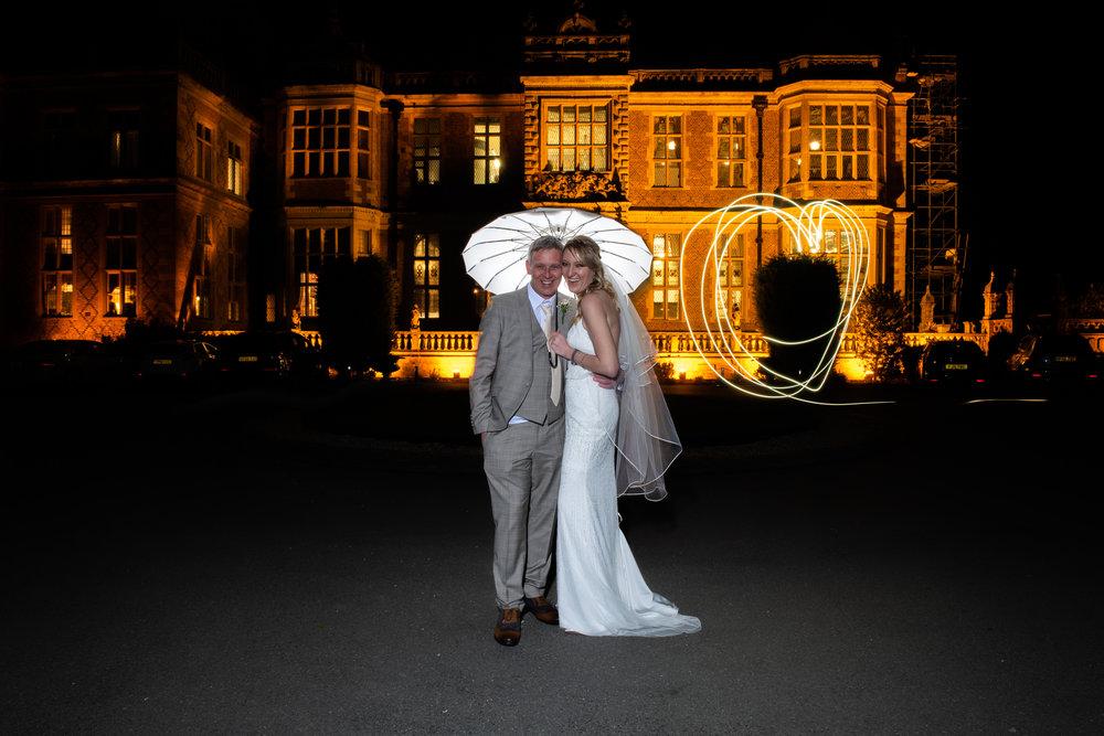 Nighttime photoshoot wedding at Crewe Hall