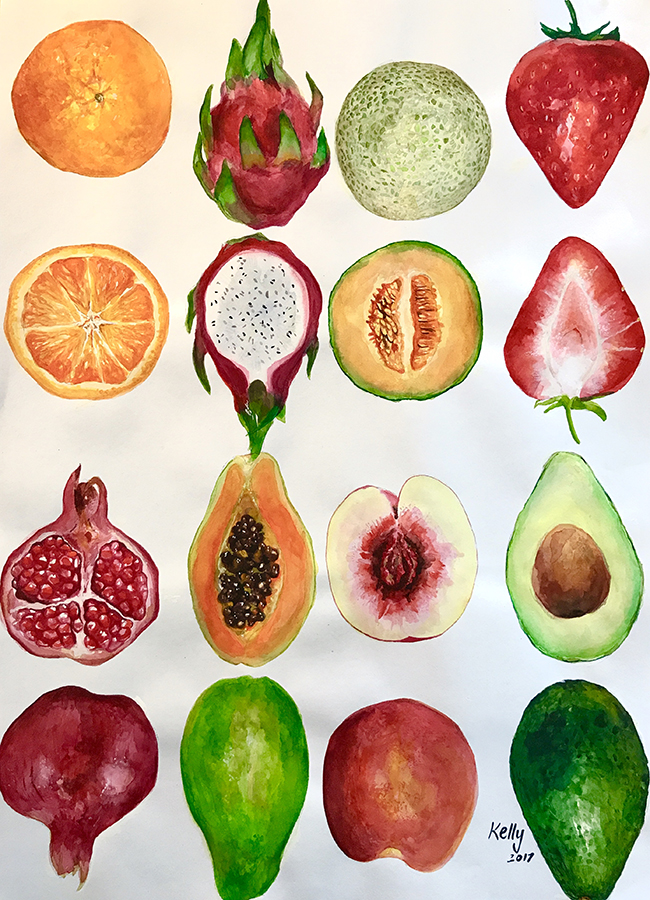 Fruits  by Kelly Watercolor on paper