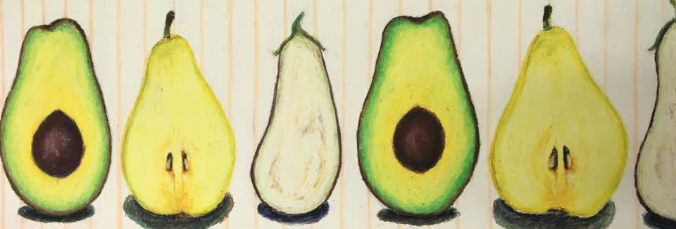 Avocado, pear and eggplant  by Lina Oil pastel on paper