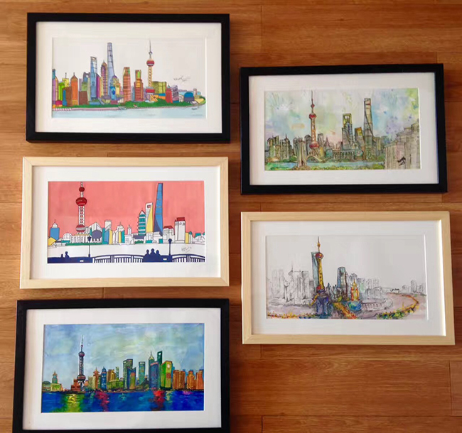 Framed finished artworks