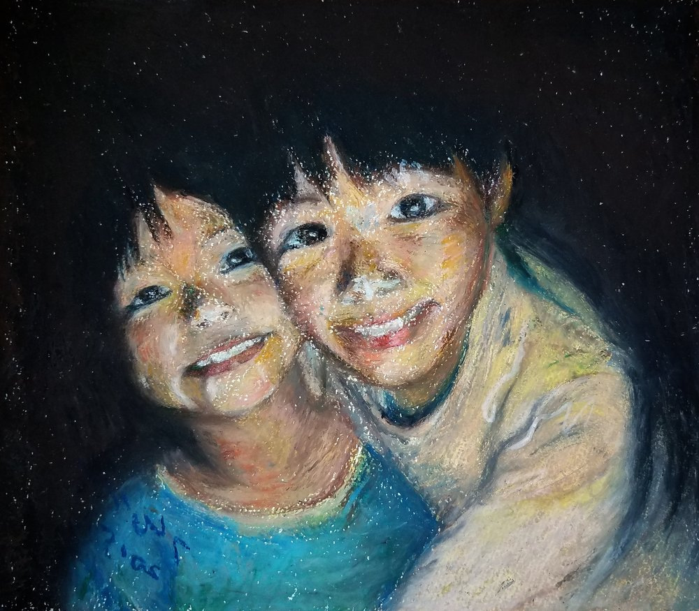 Brothers  by Soyeon Oil pastel on paper