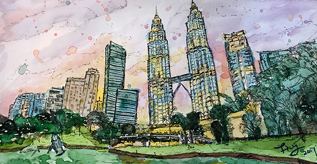 kuala lumpur by Lisy Watercolor and pen on paper