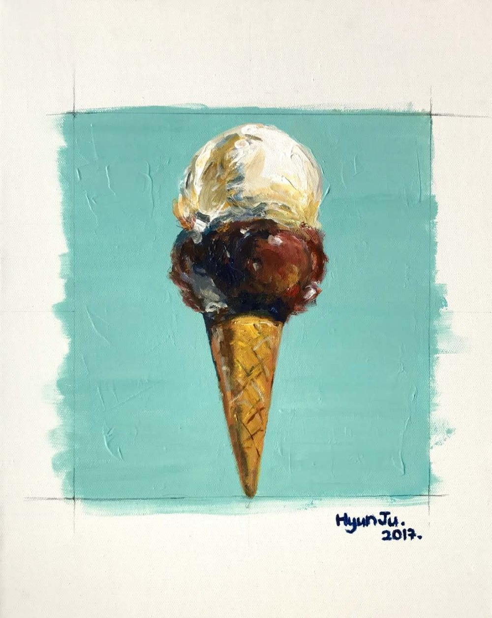 Ice cream  by Hyunju Acrylic on canvas