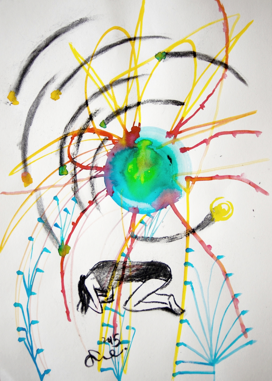 "Energy  2015, Watercolor and charcoal on paper, 20.4"" x 14.9"""
