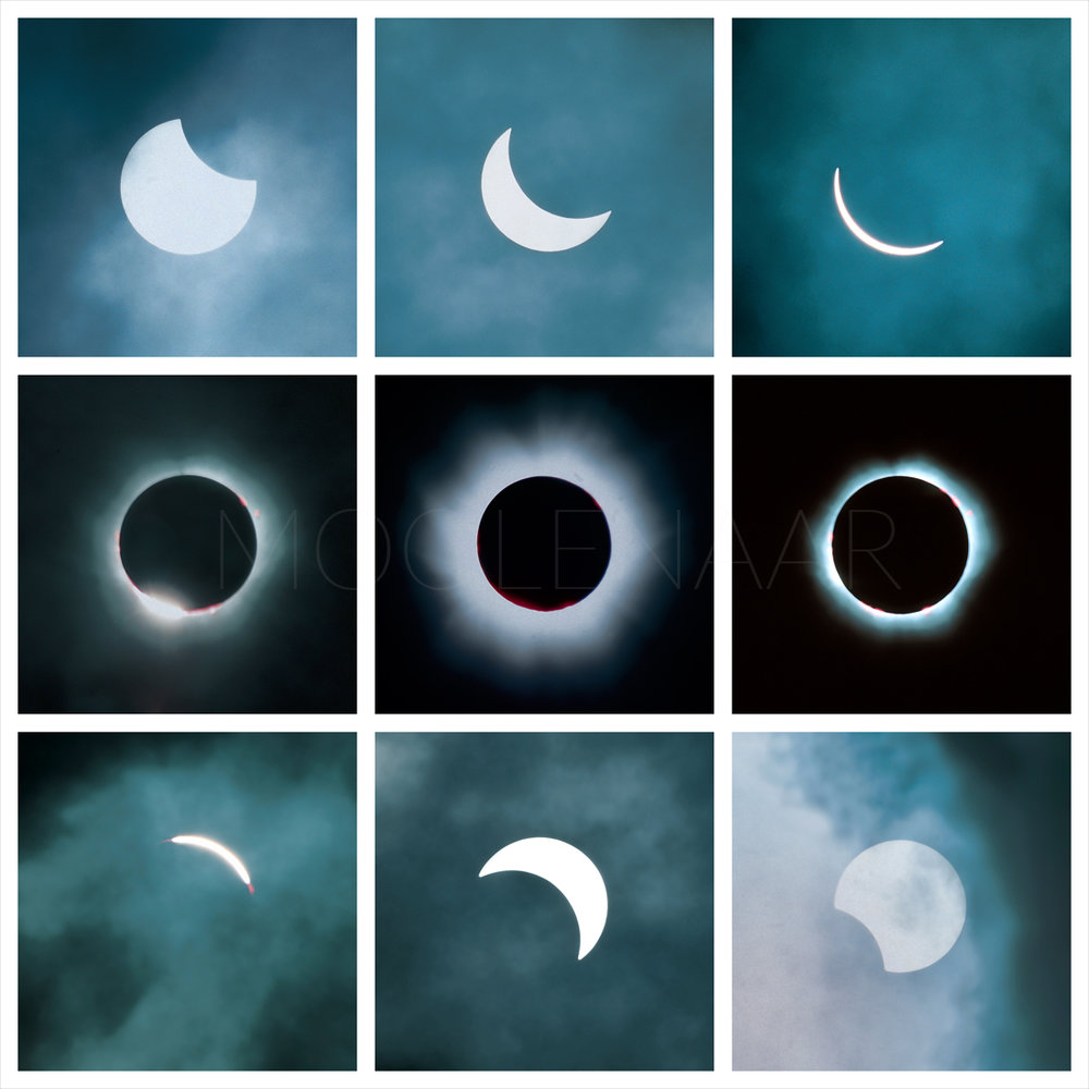 """Total Eclipse of the Sun 1999  by Lucien Moolenaar Nine C-Type Prints Aluminium & Perspex Mounted, 24x24"""" each (Edition of 50)"""