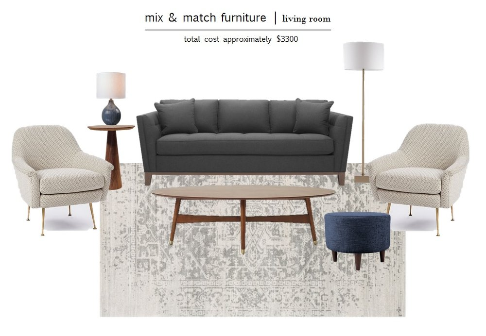 SOFA  |  ACCENT CHAIR  |  COFFEE TABLE  |  FLOOR LAMP  |  OTTOMAN  |  END TABLE  |  TABLE LAMP  |  RUG