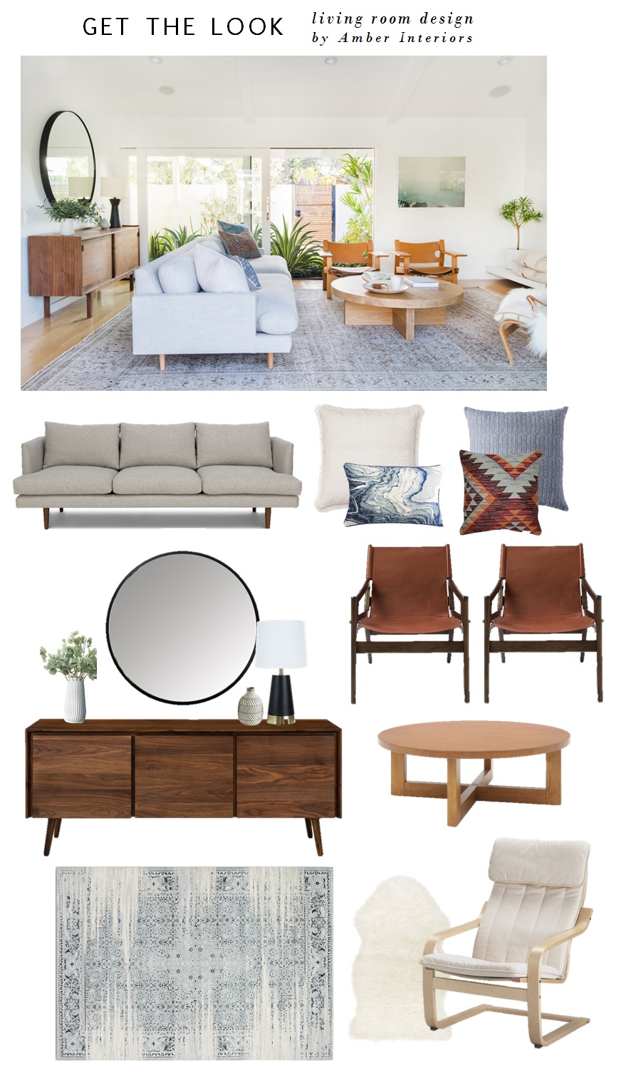 SOFA  |  COFFEE TABLE  |  BUFFET  |  LEATHER SLING CHAIRS  |  WHITE ARM CHAIR  |  FUZZY RUG  |  AREA RUG  |  ROUND MIRROR  |  BLACK LAMP  |  SMALL VASE  |  TALL VASE  | PILLOWS:  WHITE SQUARE ,  BLUE SQUARE ,   BLUE MARBLE ,  KILIM