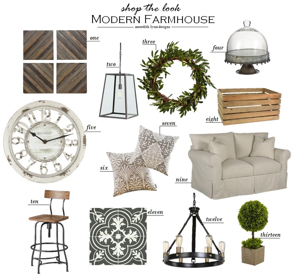 1.  Wood Decorative Panels  | 2.  Danyale Pendant Light  | 3.  Olive Wreath  | 4.  Metal Stand with Glass Dome  | 5.  Antique Wall Clock  | 6.  Embroidered Pillow Case  | 7.  Gray Pillow Case  | 8.  Wood Crate  | 9.  Loveseat  | 10.  Barstool  | 11.  Merola Tile  | 12.  Antique Chandelier  | 12.  Topiary