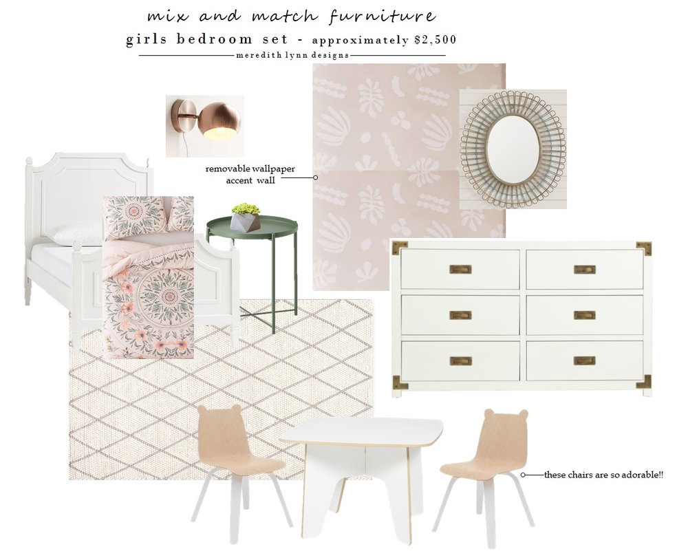 Bed  |  Bedspread  |  Nightstand  |  Rug  |  Sconce  |  Wallpaper  |  Mirror  |  Dresser  |  Chairs  |  Table