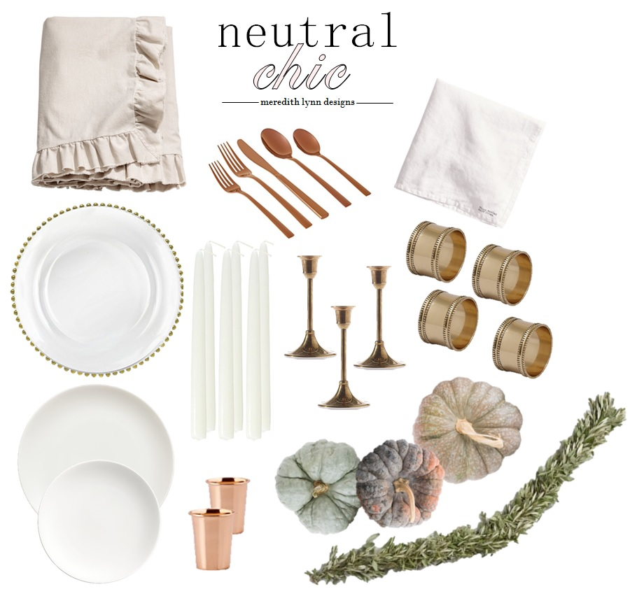 Copper Flatware  |  Tablecloth  |  Plate Charger  |  Tapered Candle Holder  |  Napkin Rings  |  Napkins  |  Candles  |  Garland  |  Copper Shot Glasses  |  Salad Plate  |  Dinner Plate