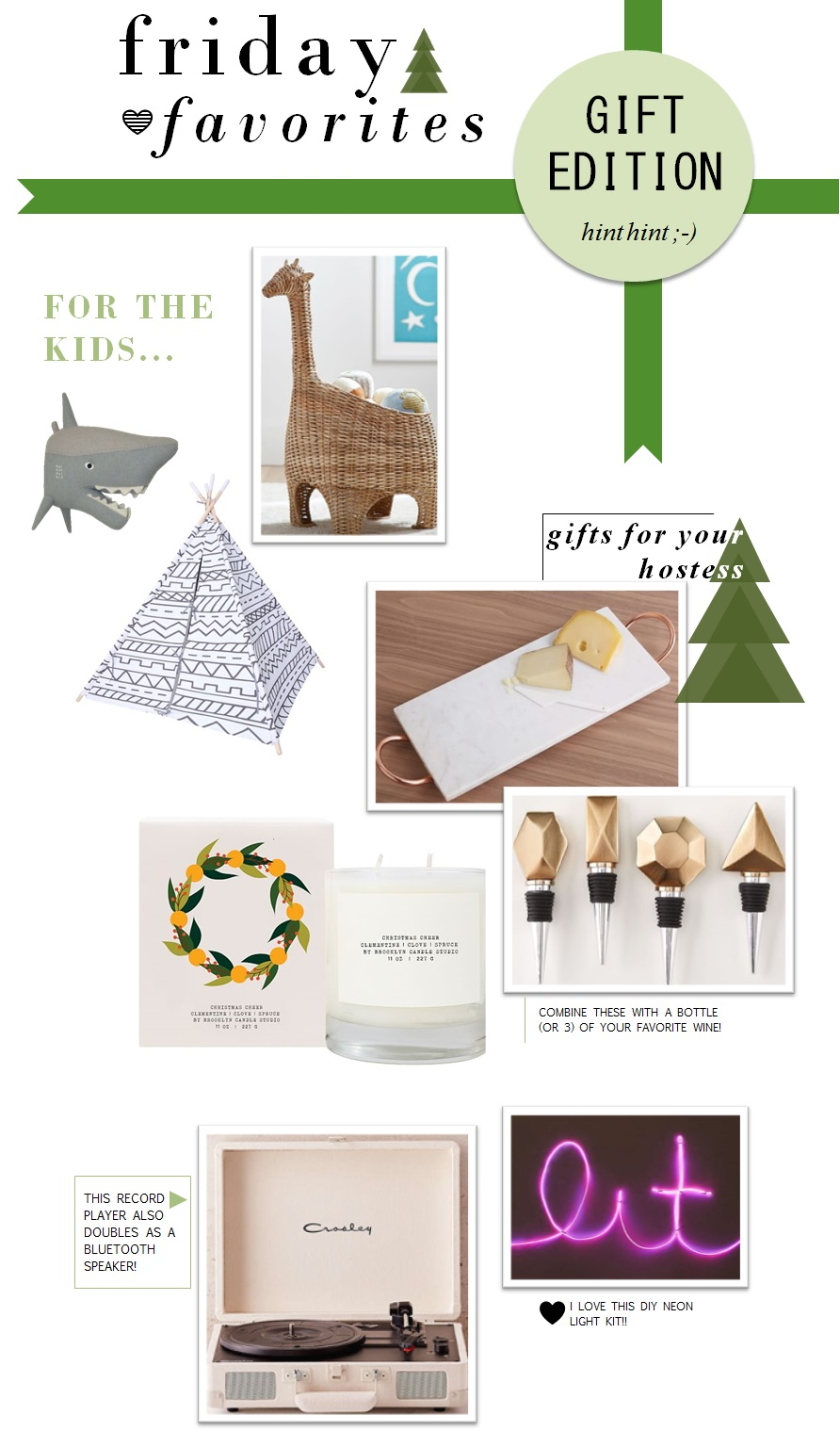 Shark Head  |  Play Tent  |  Giraffe Basket  |  Marble and Copper Serving Tray  |  Christmas Candle  |  Bottle Stoppers  |  Record Player  |  DIY Neon Sign Kit