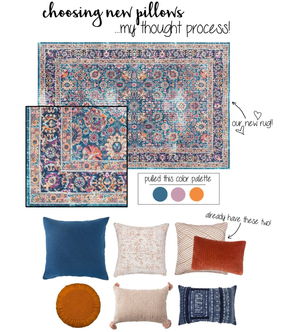 ** TIP: If your rug has a lot of colors in it, use the eye dropper tool in any photo editing program to pull out a few colors you'd like to keep your pillow color palette to. This makes it a lot easier when searching through the millions of throw pillows online or in stores!