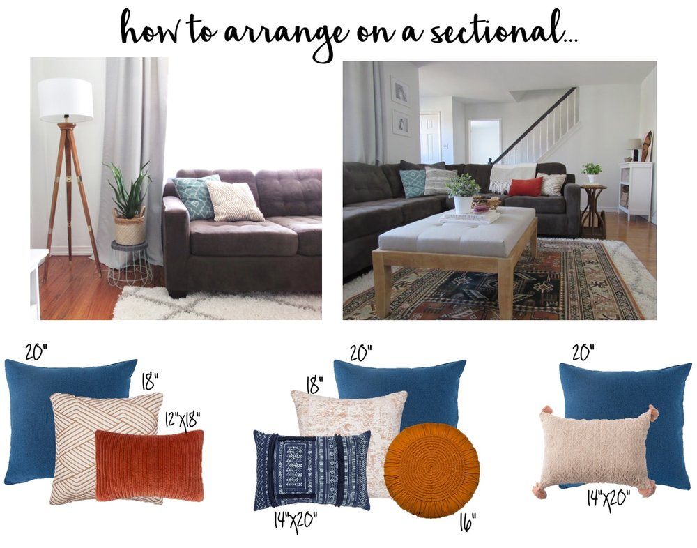 I used these two images of our sofa to help me plan out how many pillows I will need in each area! Make sure to vary the sizes of your pillows to create more depth and interest.