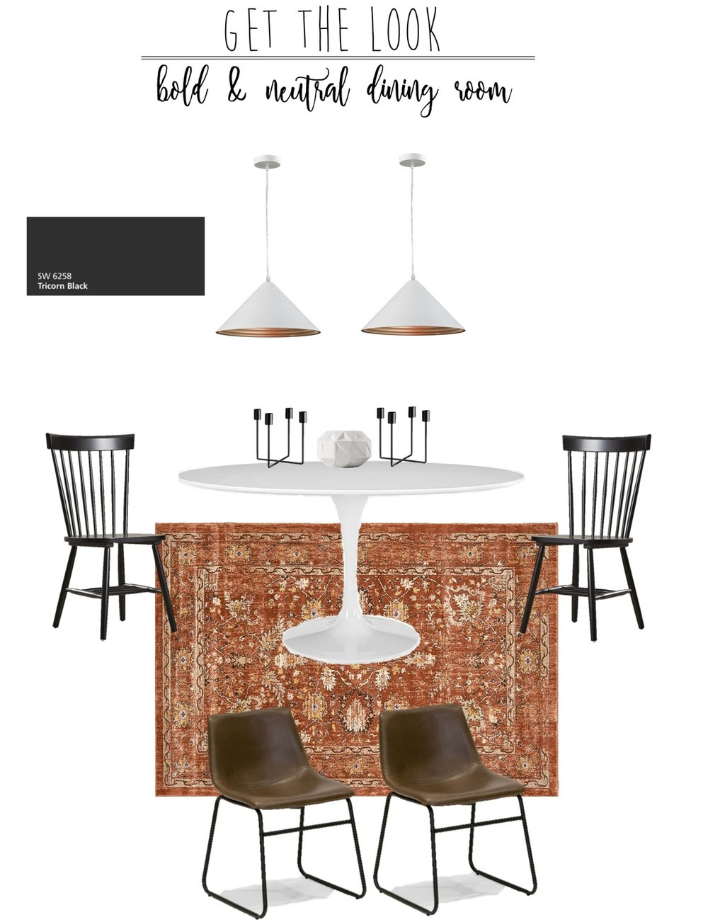 Area Rug  |  Table  |  Brown Chairs  |  Black Chairs  |  White Pendants  |  Candle Holder  |  Vase