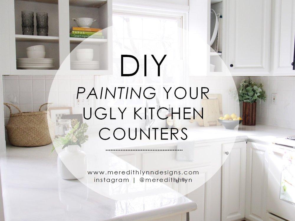 DIY + Kitchen + Faux + Marble + Counters.jpg & DIY | PAINTING MY KITCHEN COUNTERTOPS u2014 MEREDITH LYNN DESIGNS