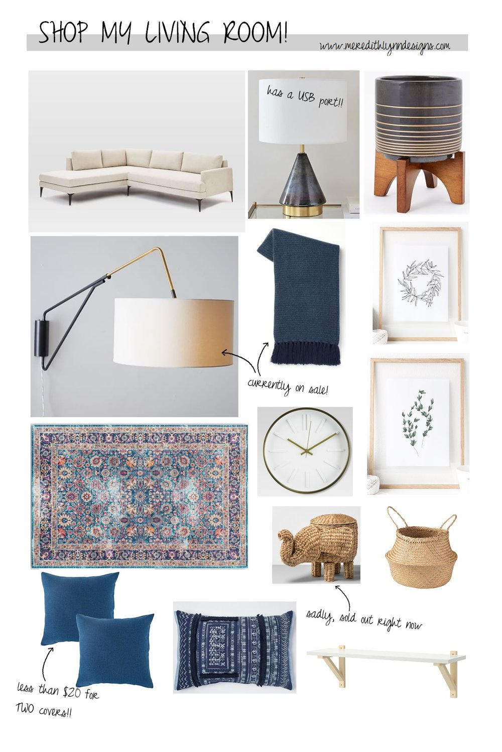 Sofa  |  Table Lamp  |  Planter  |  Sconce  |  Throw Blanket  |  Jasmine Wreath Print  |  Thyme Print  |  Area Rug  |  Wall Clock  |  Blue Pillow Covers  |  Fringe Pillow  |  Elephant Basket  |  Belly Basket  |  Wall Shelf