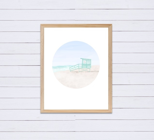 I drew this  lifeguard tower  as part of a custom set of prints for someone's beach inspired nursery!