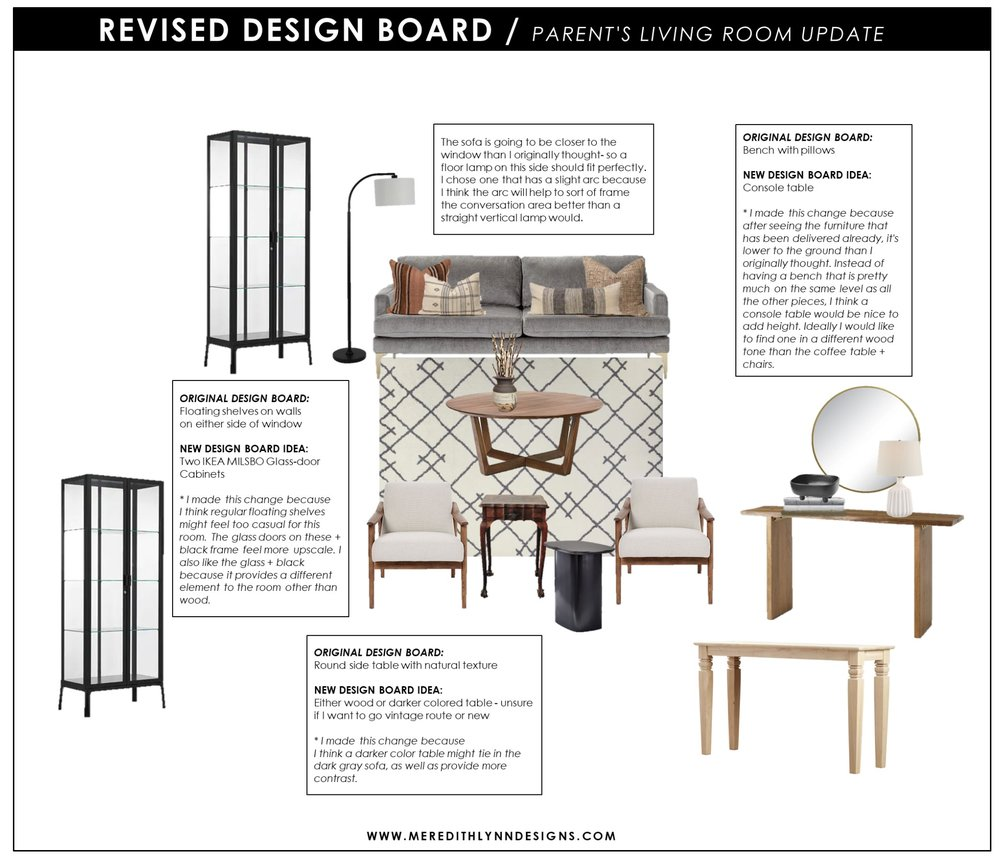 CABINETS  /  BLACK SIDE TABLE  /  DARKER CONSOLE TABLE  /  LIGHTER CONSOLE TABLE  /  FLOOR LAMP  /  PILLOWS  /  WHITE TABLE LAMP