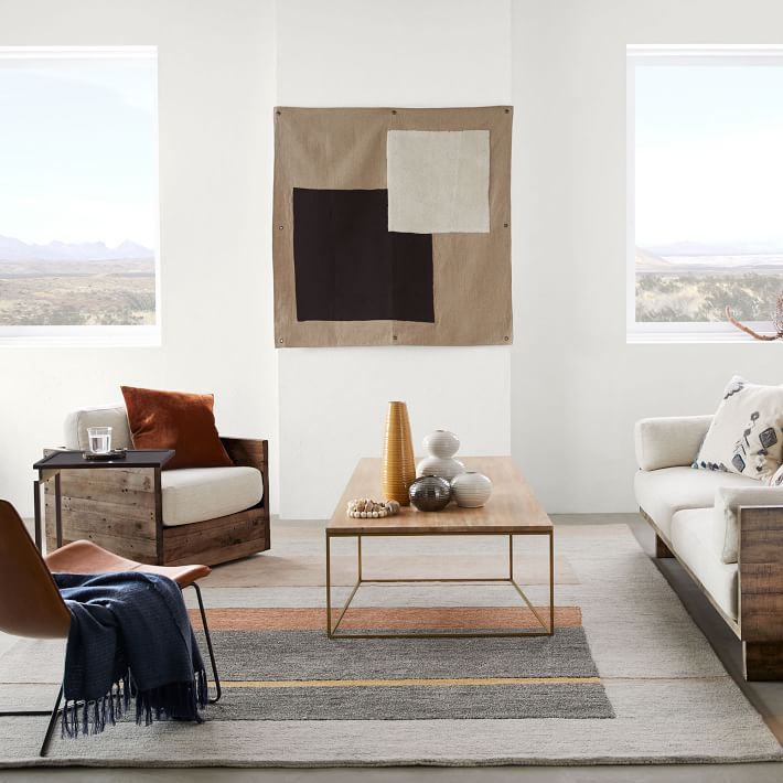 I LOVE HOW MODERN AND MINIMAL THIS  WALL TAPESTRY  IS! SOMETHING LIKE THIS WOULD ALSO BE A SUPER EASY DIY.