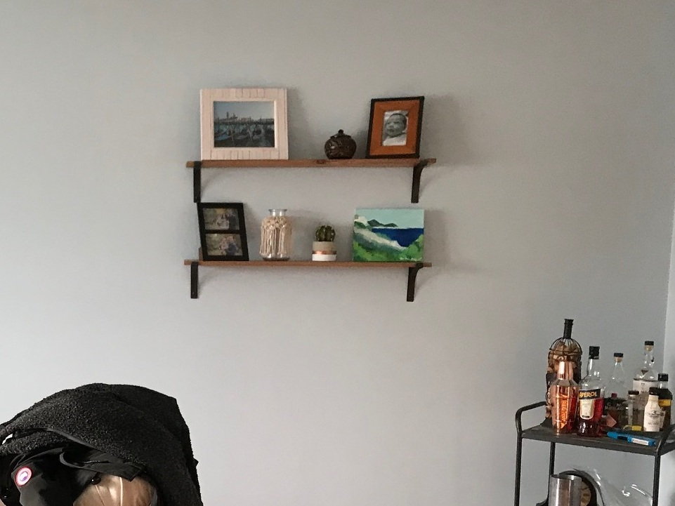 BEFORE / wall shelves with black brackets
