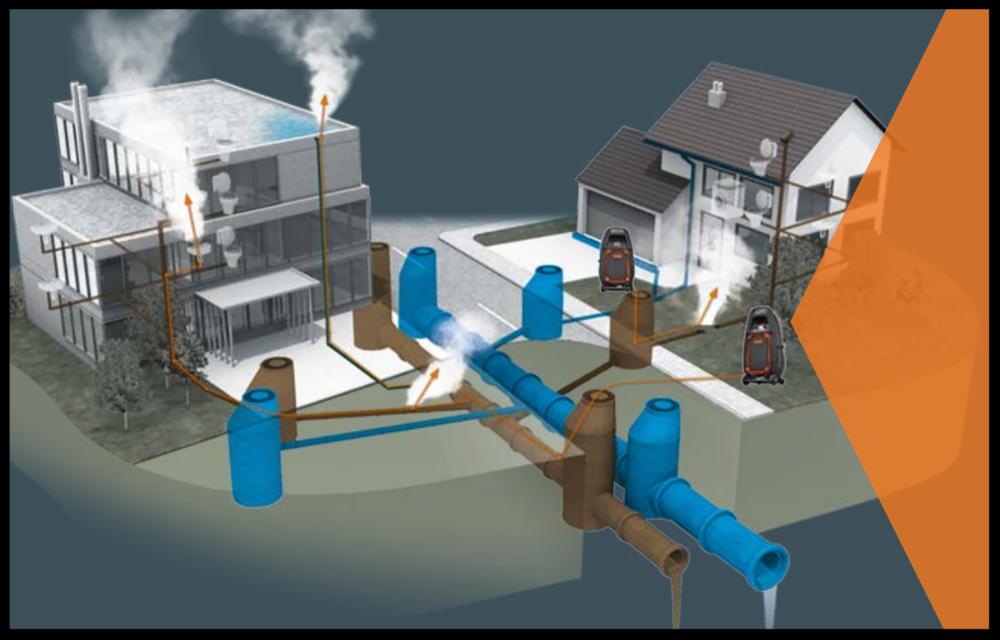 Store områder kan kartlegges, hovedledninger og private ledninger.