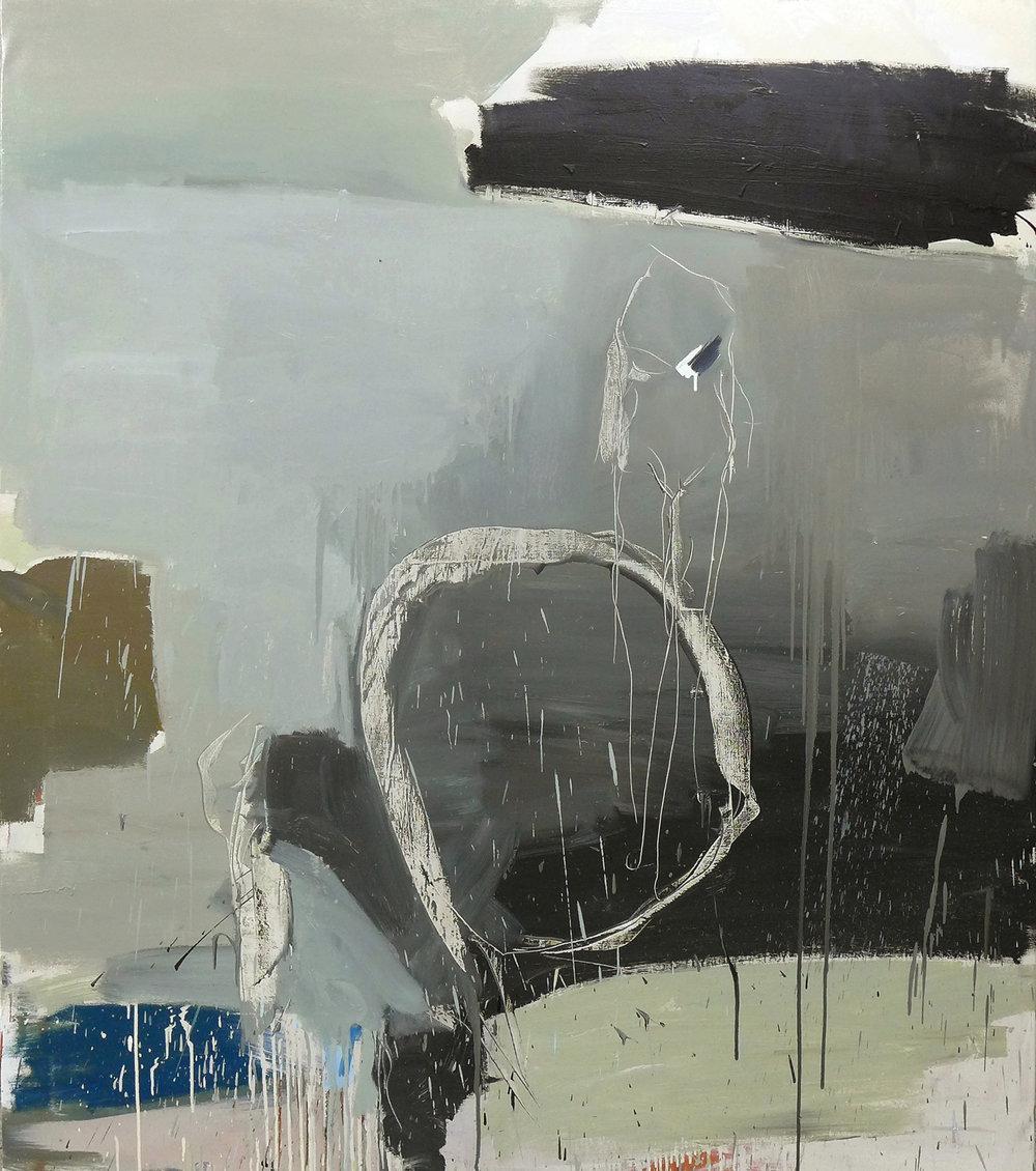 Blanco y negro, figura ausente,  2016  Óleo sobre lienzo  170 x 150 cm