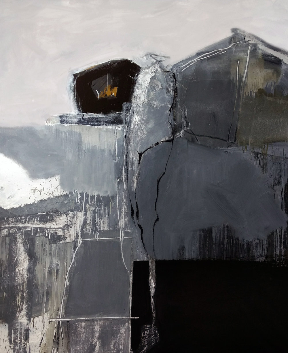 Blanco y negro, figura ausente,  2017  Óleo sobre lienzo  170 x 150 cm