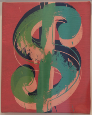 Andy Warhol    Dollar Sign,     1982  Mixed tecnique on canvas  25 x 20 cm