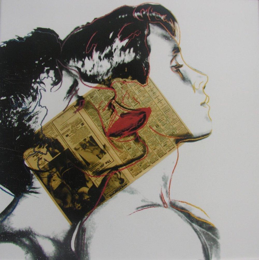 Andy Warhol    Querelle,   1982.¡  Tinta acrílica y collage de periódico sobre cartulina Lenox Museum   100 x 100 cm