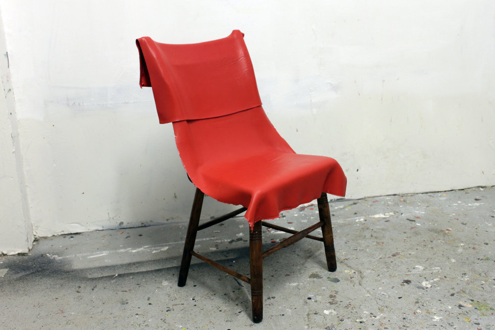 Paint on a chair  , 2013  Acrilico sobre silla de madera  86 x 45 x 48 cm