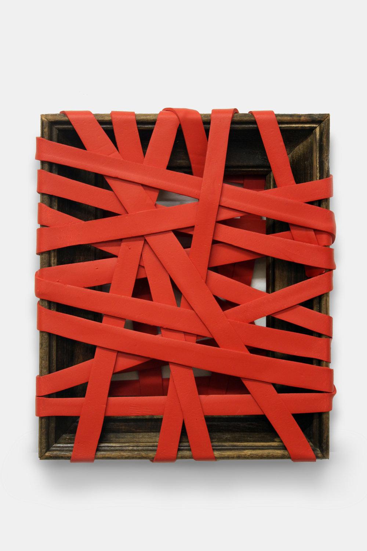 Bound (Red)  , 2013  Acrilico y marco de madera  30 x 23 x 5 cm