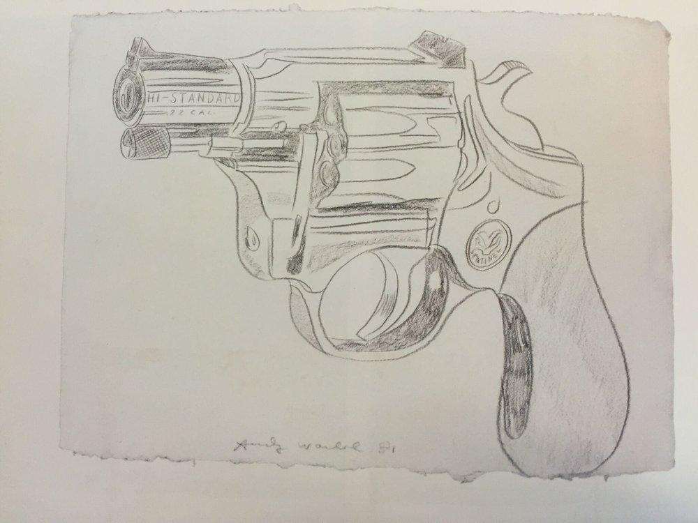 Gun,   1981  Lápiz sobre papel  60 x 80 cm   NOT FOR SALE