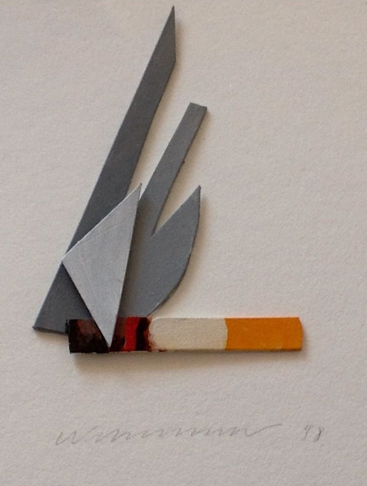 Smoking Cigar  , 1998  Acrílico y técnica mixta sobre carton  18 × 16 cm