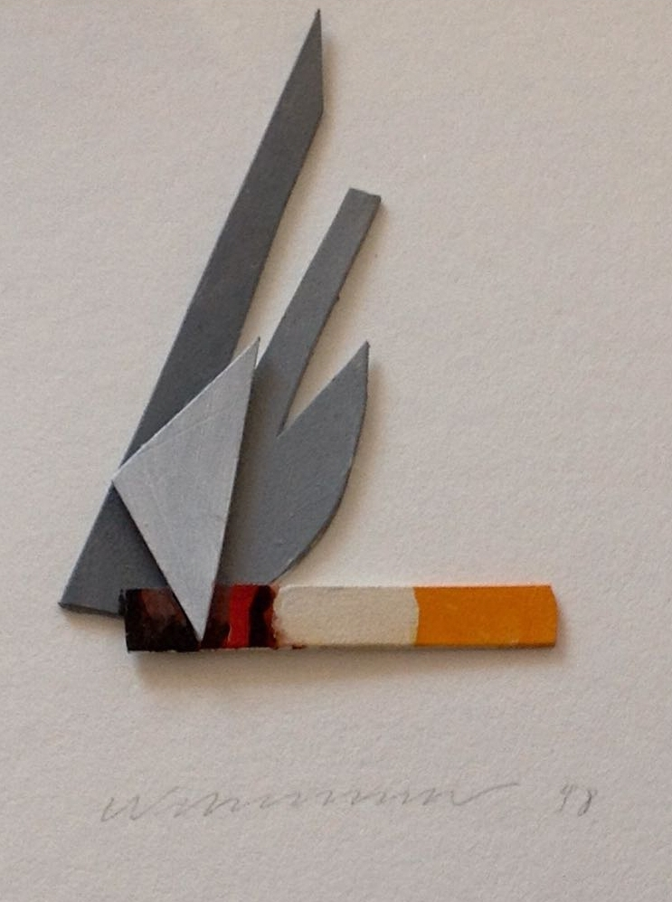 Smoking Cigar  , 1998  Acrylic and mixed media on board  18 × 16 cm